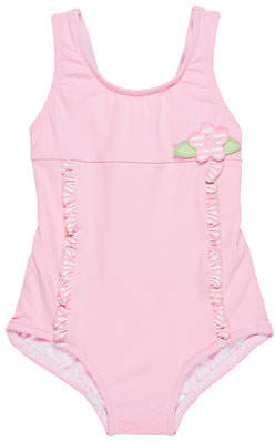 Florence Eiseman Solid One-Piece Swimsuit w/ Stripe Ruffle Trim, Size 6-24 Months