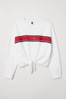 H&M H&M+ Tie-detail Sweatshirt - White