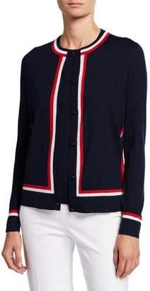 Escada Racing-Striped Wool-Silk Button-Front Cardigan