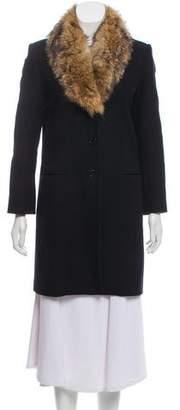 Theory Fur-Trimmed Virgin Wool Coat