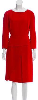 Christian Dior Silk Long Sleeve Midi Dress