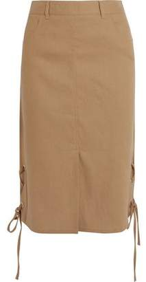 See by Chloe Lace-Up Linen-Blend Midi Skirt