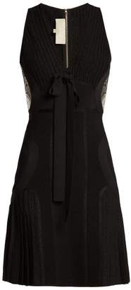 Elie Saab Ribbed Knit Pleated Mini Dress - Womens - Black
