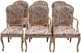 One Kings Lane Vintage Hickory Hand-Carved Dining Chairs - Set of 6