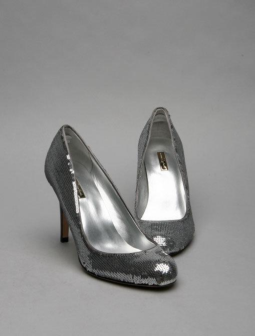 Report Signature Celine Sequin Embroidered Satin Pump in Silver