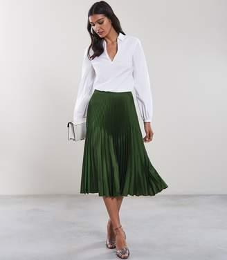 Reiss ISIDORA Knife Pleat Skirt Dark Green