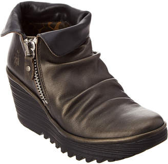 Fly London Yoxi Leather Wedge Bootie