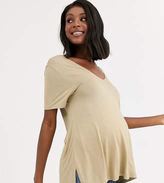 Asos DESIGN Maternity oversized v front and v back t-shirt in stone