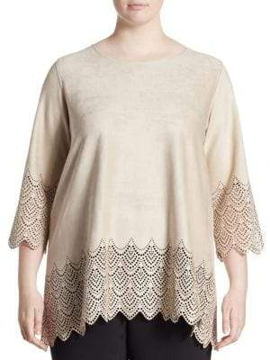 Caroline Rose Plus Laser-Cut Faux-Suede Tunic