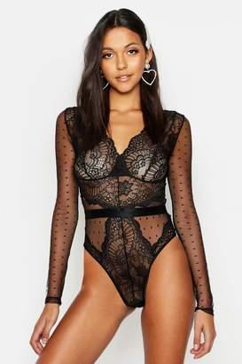 boohoo Tall Plunge Lace Long Sleeve Bodysuit