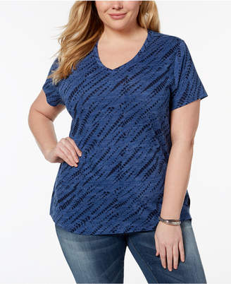 Style&Co. Style & Co Plus Size Cotton Tie-Dye T-Shirt, Created for Macy's