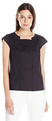 Lark & Ro Women's Cap Sleeve Button Popover Top