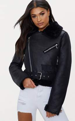 PrettyLittleThing Black Cropped PU Aviator Jacket