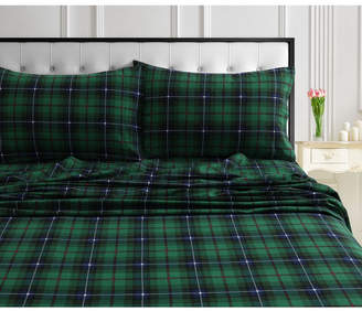 Cambridge Silversmiths Plaid 170-Gsm Cotton Flannel Printed Extra Deep Pocket Twin Xl Sheet Set Bedding