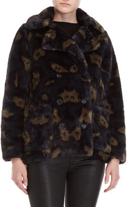 Zadig & Voltaire Miles Leopard Print Faux Fur Coat