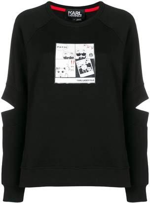 Karl Lagerfeld Manga print spliced sleeve sweatshirt