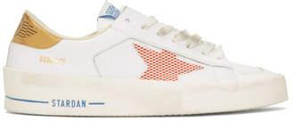 Golden Goose White and Orange Stardan Sneakers