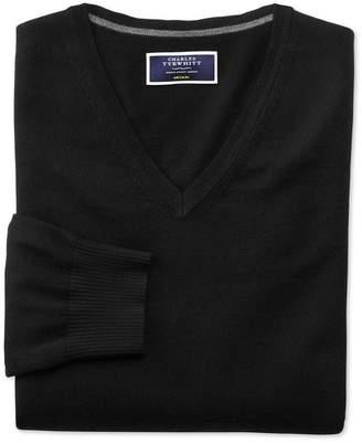 Charles Tyrwhitt Black Merino Wool V-Neck Sweater Size Small