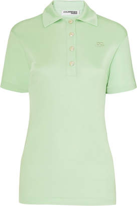 Courreges Satin-jersey Polo Shirt - Green
