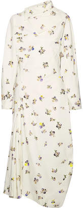 Acne Studios Dragica Asymmetric Floral-print Cotton-corduroy Midi Dress - Off-white