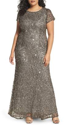 Adrianna Papell Embellished Scoop Back Gown