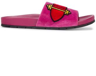 Prada Pink Cartoon Velvet Slides