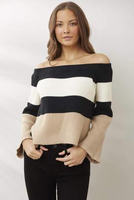 Le Lis Off Shoulder Colorblock Pullover Tan S