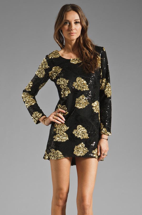 DRESS THE POPULATION Ellen Long Sleeve Chiffon Dress