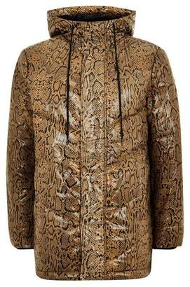 Topman Mens Brown Real Leather Snake Printed Puffer Jacket