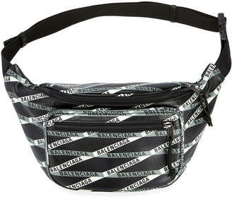 Balenciaga Men's Logo Tape-Print Leather Fanny Pack Bag