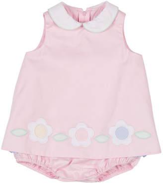 Florence Eiseman Solid Fine-Wale Pique Flower Applique Romper Dress, Size 3-18 Months