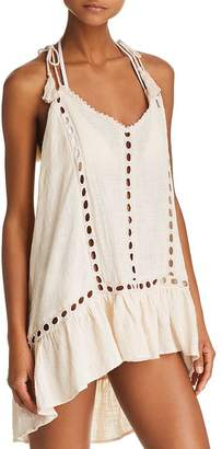 Surf.Gypsy Embroidered Trim Gauzy Dress Swim Cover-Up