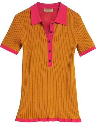 Burberry Two-tone Cashmere Silk Polo Shirt