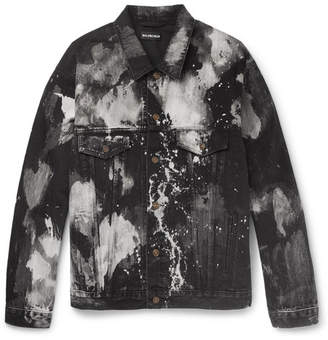 Balenciaga Oversized Bleached Denim Jacket - Black