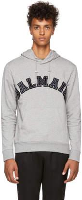 Balmain Grey Side Zip Logo Hoodie
