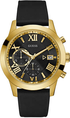 GUESS Men's Black Leather Strap Watch 45mm U0669G4