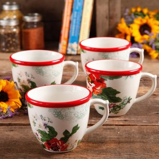 THE PIONEER WOMAN The Pioneer Woman Flea Market 17 oz Decorated Coffee Cups, Country Garden, Set of 4