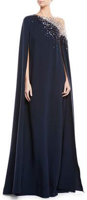 Oscar de la Renta Illusion Sequin-Embroidered Cape-Back Evening Gown
