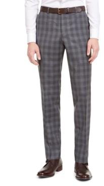 HUGO BOSS Hugo by Men's Slim-Fit Dark Gray Plaid Wool Suit Separate Pants