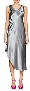 Helmut Lang Women's Silk Satin Asymmetric Midi-Dress - Gry Pebble