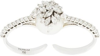 YEPREM 18kt white gold diamond cluster and pearl ring