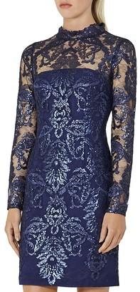 REISS Asabi Sequin Lace Dress $465 thestylecure.com