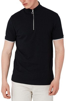 Men's Topman Muscle Fit Quarter Zip Tipped Polo $35 thestylecure.com