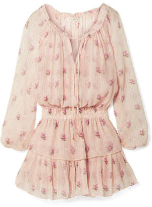 LoveShackFancy Popover Ruffled Metallic Floral-print Silk-blend Crepon Mini Dress - Pastel pink