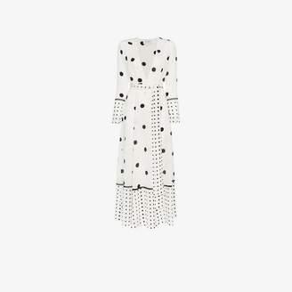 Leone We Are polka dot print silk maxi robe