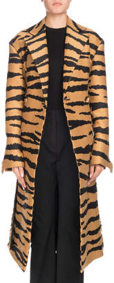 Proenza Schouler Wrap Button-Front Belted Tiger-Jacquard Long Coat w/ Fringe