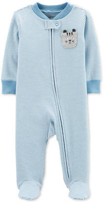 Carter's Carter Baby Boys 1-Pc. Striped Cat Footed Pajamas