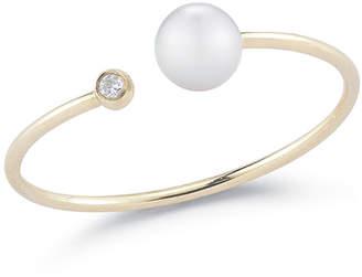 Mizuki Open Pearl & Diamond Bezel Ring