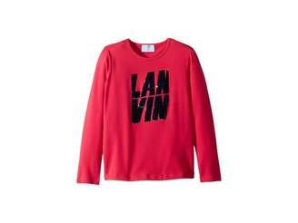 Lanvin Kids Long Sleeve Sequin Logo T-Shirt (Little Kids/Big Kids)