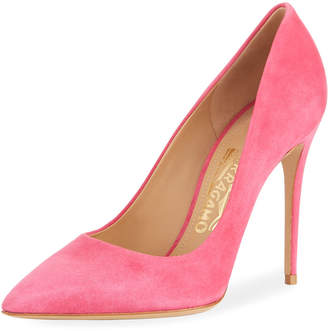 Salvatore Ferragamo Fiore Suede High Heel Pumps